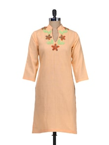 Elegant Peach Embroidered Kurta - Overdrive