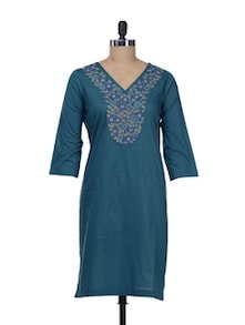 Teal Blue Embroidered Kurta - Overdrive