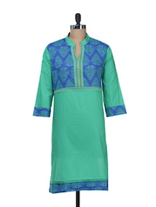 100% Solid Green Kurti With Printed Yoke And Embroidery - Overdrive