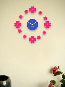 Blue Wall Clock With Pink Floating Flowers - Zeeshaan