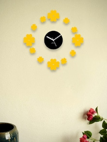 Black Wall Clock With Yellow Floating Flowers - Zeeshaan