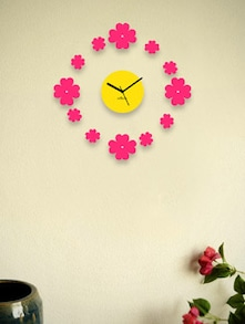 Yellow Wall Clock With Pink Floating Flowers - Zeeshaan