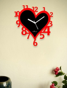 Black Heart Wall Clock With Red Numbers - Zeeshaan