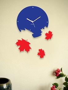 Red Falling Leaves Wall Clock - Zeeshaan 55146