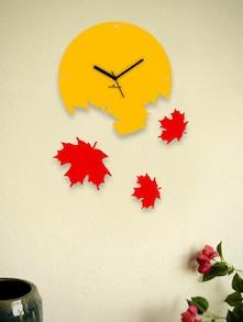 Red Falling Leaves Wall Clock - Zeeshaan