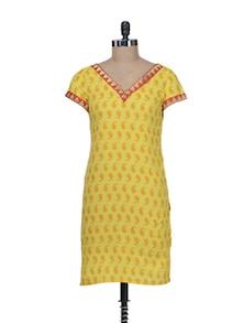 Yellow Ambi Print Kurti - Kapade