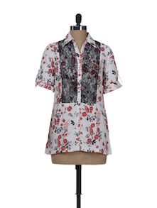 Stylish Red & White Floral Shirt - AKYRA