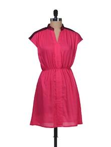 Dark Pink Back Keyhole Dress - AKYRA