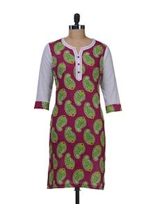 Pink & Green Printed Kurta - AKYRA