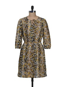 Mustard & Black Animal Print Dress - AKYRA