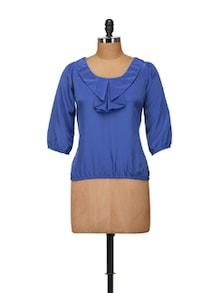 Chic Blue Top With Flapped Front - Harpa
