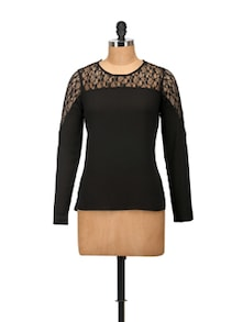 Elegant Black Lace Top - Harpa