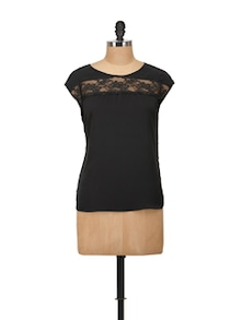 Chic Black Top With Lace Yoke - Harpa