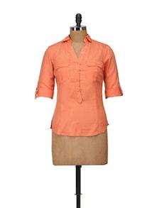 Stylish Orange Collared Top - Harpa