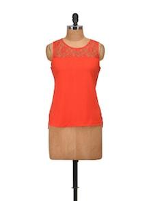 Orange Top With Sheer Yoke - Harpa