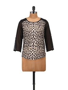 Black & White Animal Print Top - Harpa