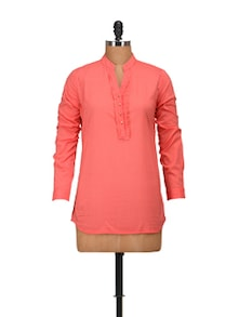 Elegant Peach Full Sleeves Top - Harpa