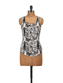 Black & White Printed Sleeveless Top - Harpa
