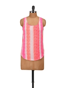 Orange & Pink Printed Sleeveless Top - Harpa