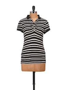 Collared Black & White Striped Top - Harpa
