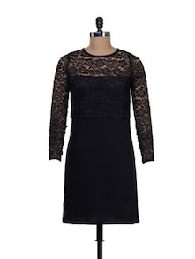 Chic Black Half Net Dress