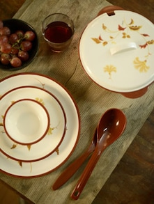 Printed Brown Dinner Set- 32 Pieces - Nayasa