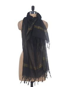 Black Cotton Dupatta - Nanni Creations