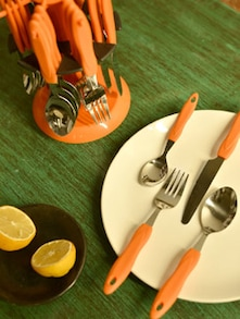 Orange Cutlery Set With Round Stand- 25 Pieces - Elegante