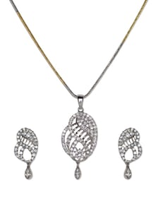 Beautiful Studded Pendant With Chain And Earrings - Aradhyaa Jewel Arts