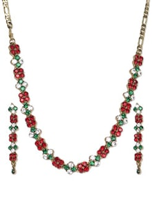 Stone Studded Necklace With Earrings - Aradhyaa Jewel Arts