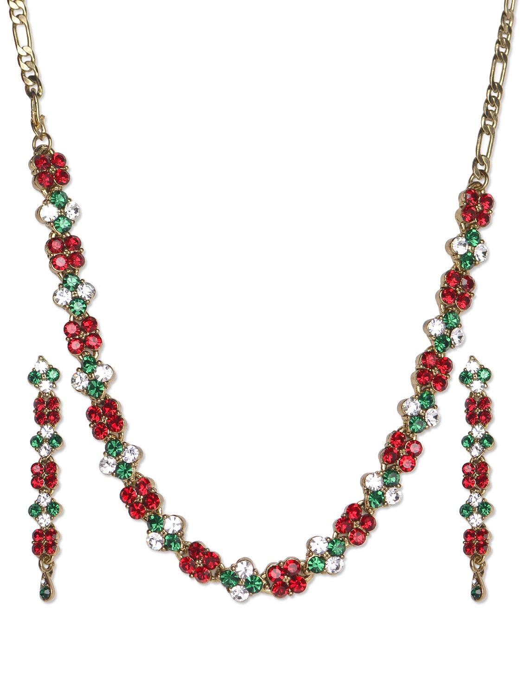 Stone Studded Necklace With Earrings - Aradhyaa Jewel Arts