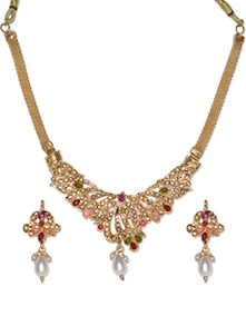 Traditional Stone Work Set With Pearl Drop - Aradhyaa Jewel Arts