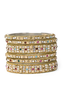 Multi-coloured Stones Studded Bangles - Aradhyaa Jewel Arts
