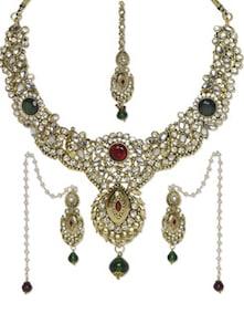 Kundan Work Necklace With Earrings - Aradhyaa Jewel Arts
