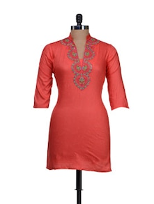 Bright Coral Embroidered Kurti - AFSANA