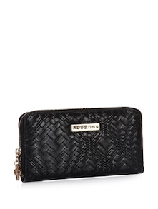 Stitch Pattern Black Wallet With Zipper Closure - Addons
