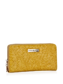 Stitch Pattern Yellow Wallet With Zipper Closure - Addons