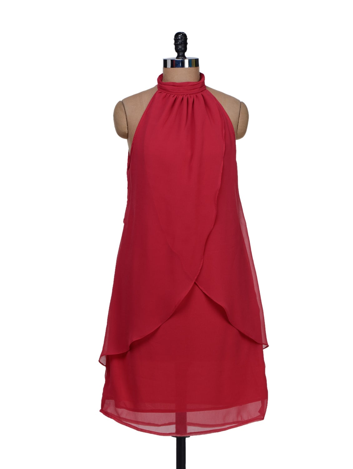 Wavy Drapes Halter Neck Red Dress - Meee