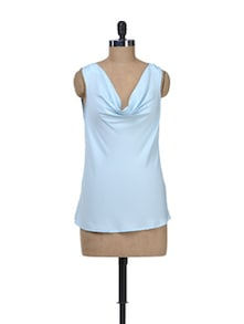 Sky Blue Top With Cowl Neck - Kaxiaa