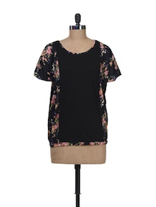Floral Print Top With Front Panel - Kaxiaa