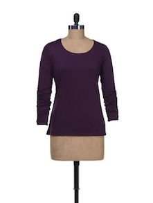 Full Sleeved Top In Purple - Kaxiaa
