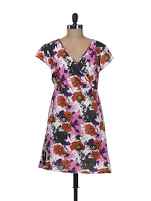 Floral Print Wrap Dress - Kaxiaa