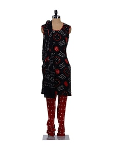 Sleeveless Black & Red Bandhani Print Suit Piece - Ruhaan's
