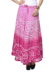 Ethnic Pink Jaipuri Bandhej Long Skirt - Ruhaan's