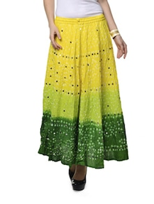 Ethnic Yellow & Green Jaipuri Bandhej Long Skirt - Ruhaan's