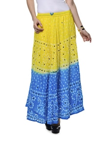 Ethnic Yellow & Blue Jaipuri Bandhej Long Skirt - Ruhaan's