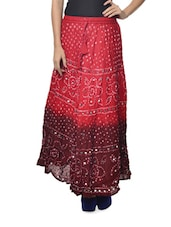 Ethnic Red-Maroon Jaipuri Bandhej Long Skirt - Ruhaan's