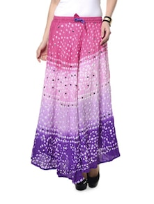 Shaded Pink & Purple Jaipuri Bandhej Long Skirt - Ruhaan's