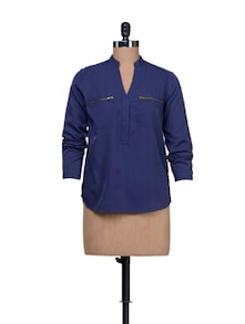 Zippered Navy Shirt - HERMOSEAR