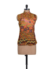 Mandarin Collared Sleeveless Shirt - HERMOSEAR